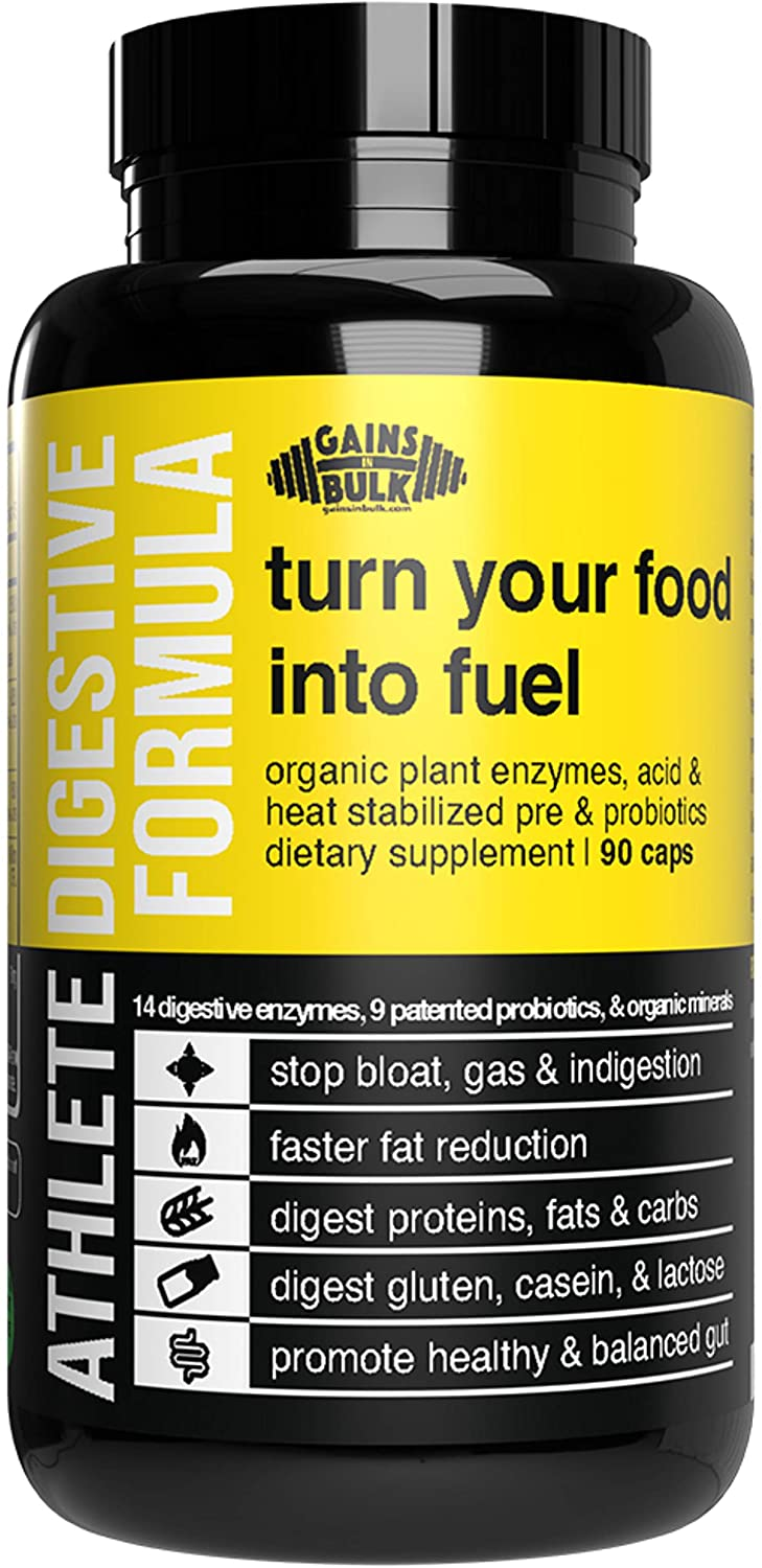 Gains in Bulk, Athlete Digestive Formula, Digestive Enzymes and Probiotics (Small, 90 Count)