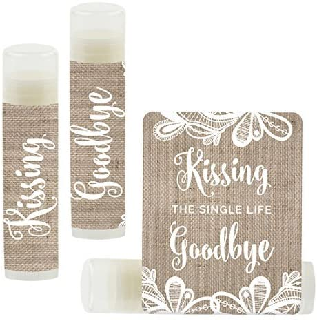 Andaz Press Bridal Shower Bachelorette Party Lip Balm Party Favors, Burlap Lace, Kissing The Single Life Goodbye, 12-Pack