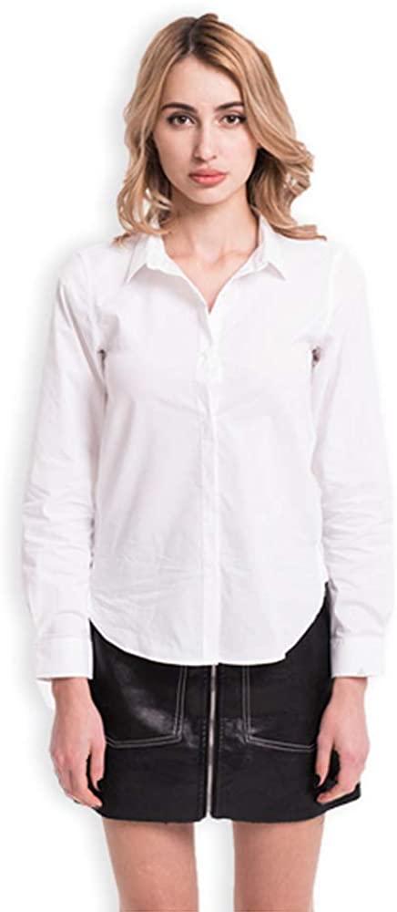 FOOXMET Tech Shirt Breathable Shirt Long Sleeve Wrinkle Free Fabric White Shirt