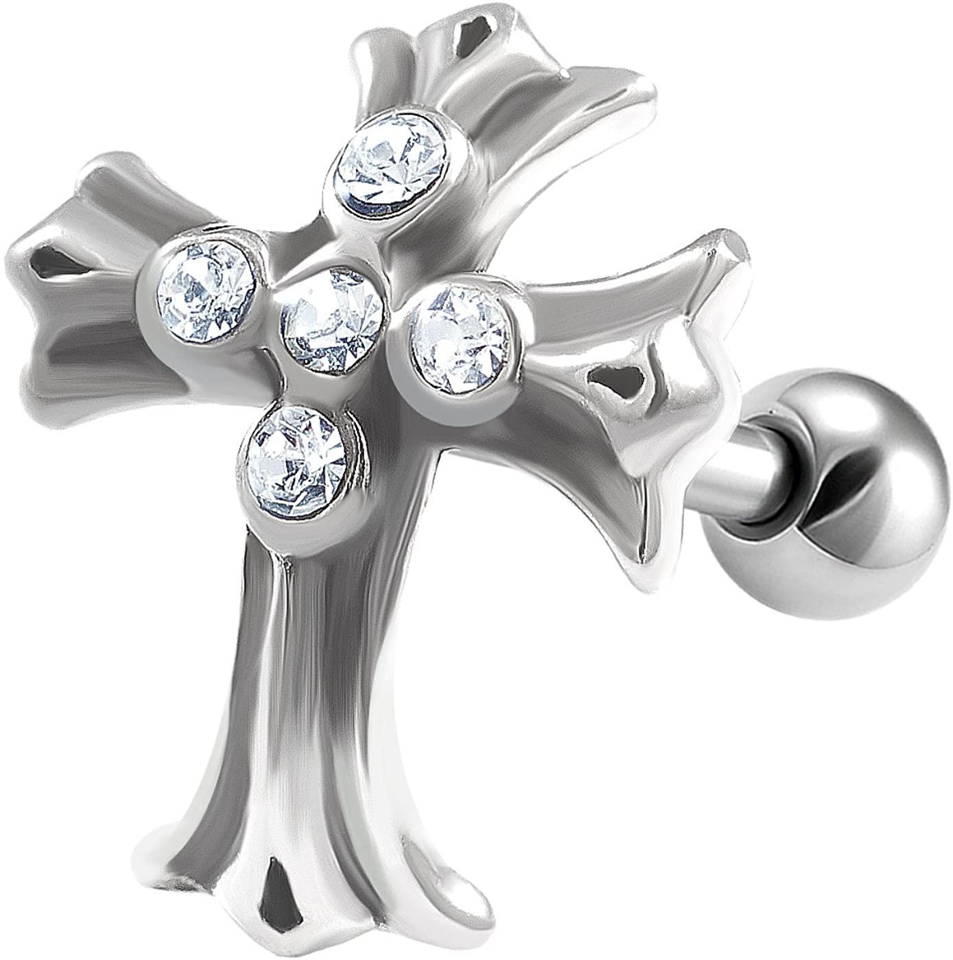 bodyjewellery 1Pcs 16g 6mm Tragus Earrings Cross Steel Barbell Stud Auricle Helix Eyebrow Pinna Stud Tragus Ear Lobe Cartilage A1YX