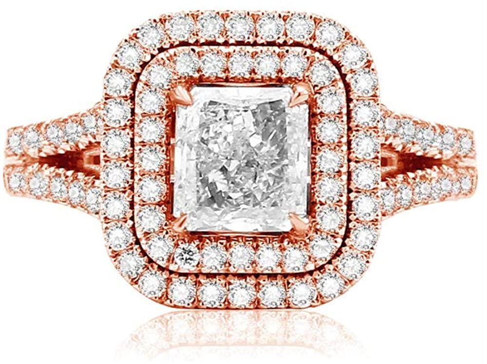 BEBEWO 1.8 Carat(Ctw) Square Moissanite Ring 14K Gold Engagement Rings for Women Personalized Custom Name Ring, 10K 18K White Gold Ring Wedding Rings for Women(Size 4-12)