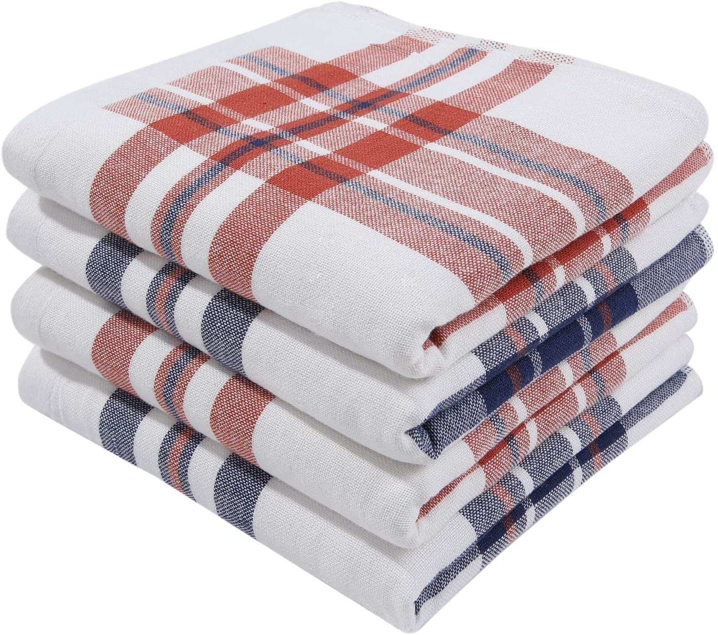 Homaxy 100% Natural Cotton Terry Kitchen Towel, 13 x 28 Inches, Ultra Absorbent Drying Plaid Dish Towels - Great for Household Cooking Cleaning, 4pc/Set, Pink, Blue and Red
