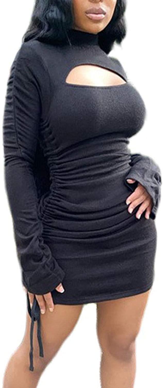 CORAFRITZ Women's Sexy Solid Color Drawstring Layered Long Sleeve Fashion Mini Dress