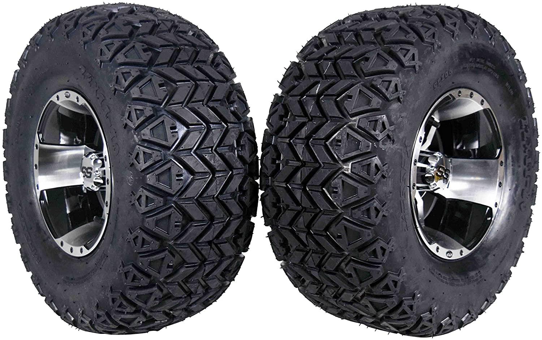 MASSFX 22 Golf Cart Tire on Machined Wheel 22x11-10 Tire 10x7, 4/4 Rim (2 PACK)