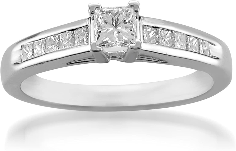 Platinum Princess-cut Diamond Engagement Wedding Ring (3/5 cttw, H-I, I1-I2)