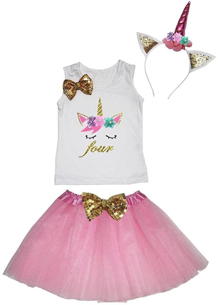Leaf Sison Unicorn Birthday Shirt Pink Tutu Headband Costume 1-10y (Four, 4-5 Year)