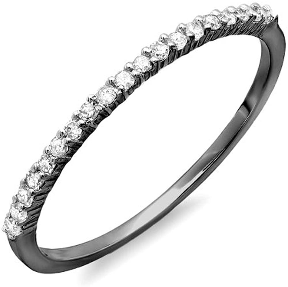 Dazzlingrock Collection 0.16 Carat (ctw) Black Rhodium Plated 14K Round White Diamond Ladies Wedding Stackable Band, White Gold
