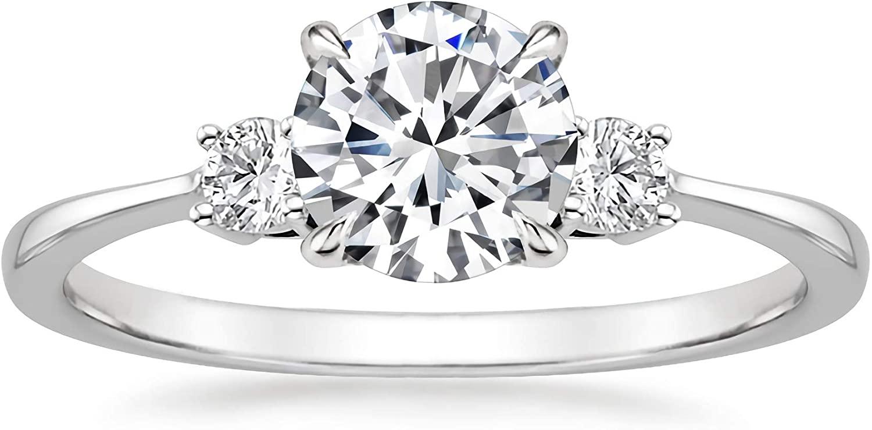 1-1.5 Carat (ctw) moissanite engagement ring for women - 10K 14k 18K gold 8 Style ring Platinum Plated Silver moissanite rings