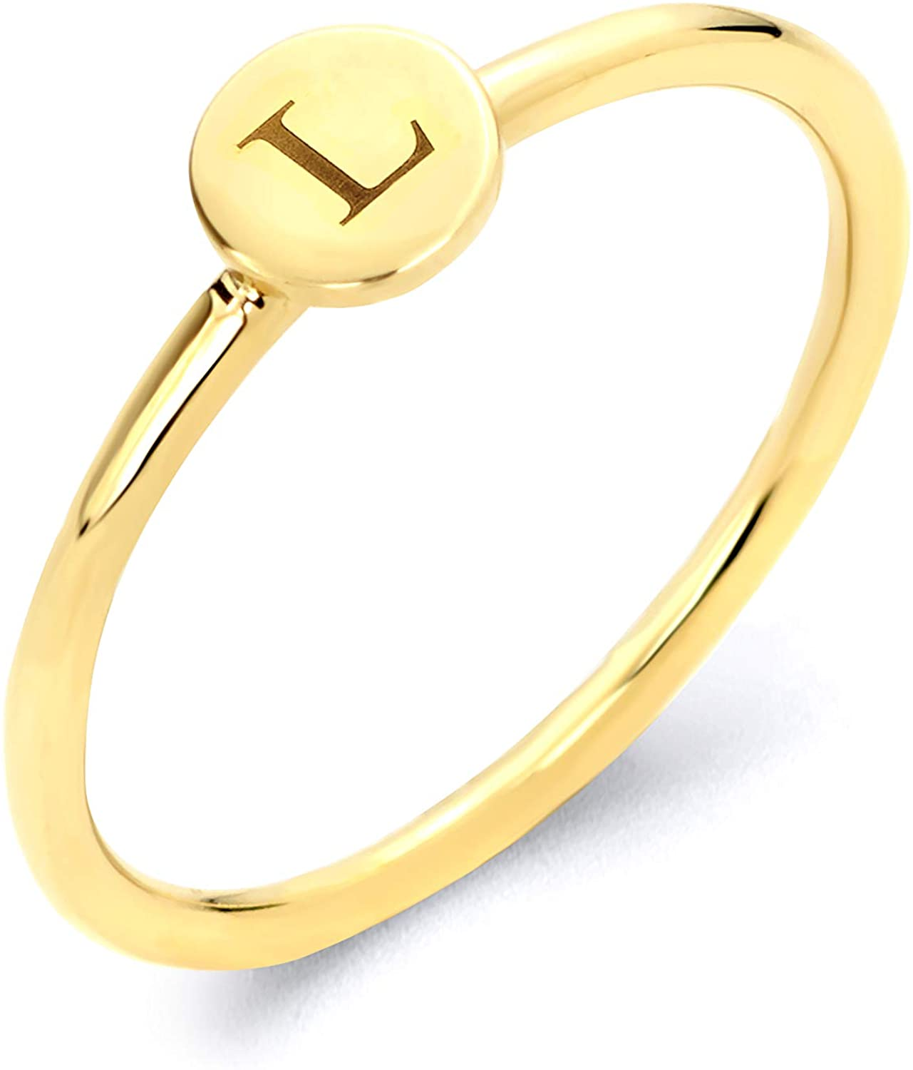 14k Real Solid Gold Initial Stacking Ring, Available in Letters A-Z Engraved Personalized Jewelry