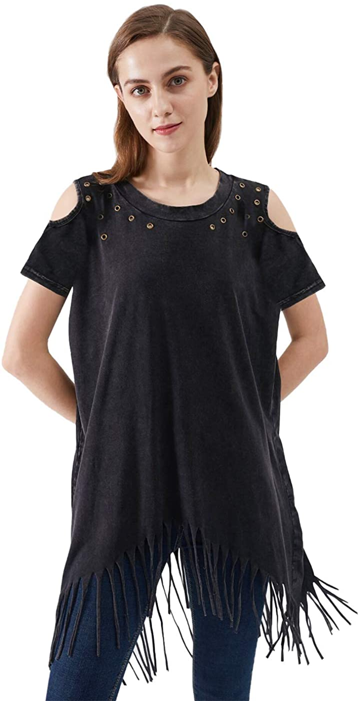 Anna-Kaci Women's Shoulder Cut Out Grommet Tassel Fringe Boho Grunge Tunic Shirt