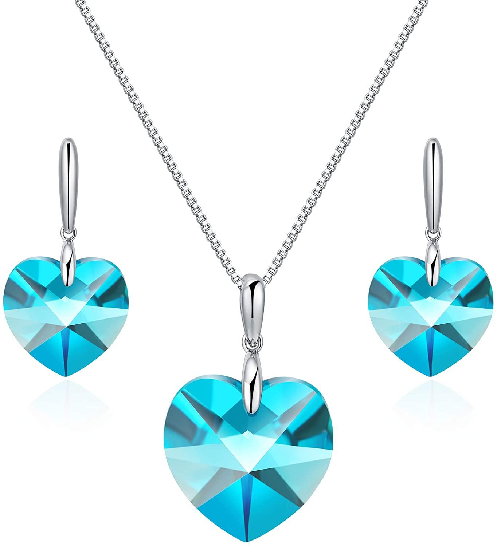 VIENNOIS Blue Heart Necklace & Heart Earrings Set - 925 Sterling Silver - Aquamarine Crystal Drop Dangle Earrings& Pendant