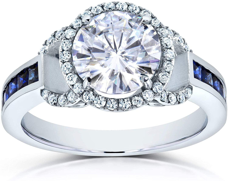 Kobelli Near-Colorless (F-G) Moissanite Engagement Ring 14k White Gold