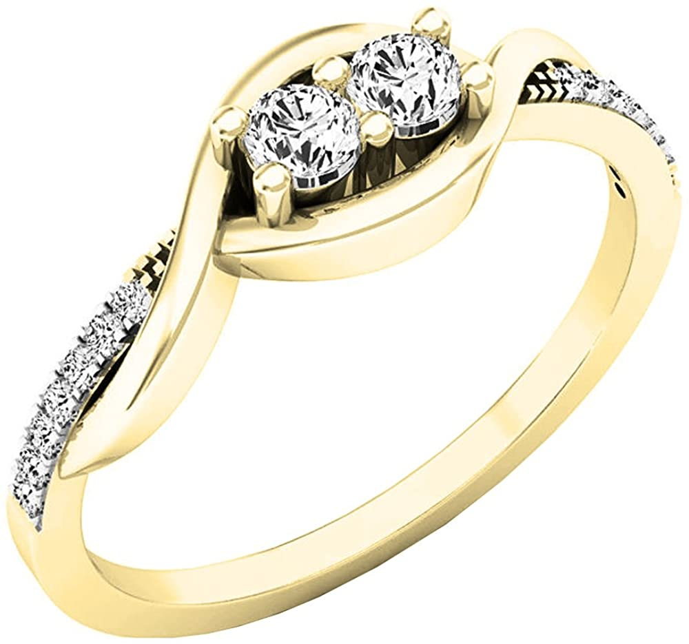 Dazzlingrock Collection 0.25 Carat (ctw) 10K Gold Round Diamond Ladies Two Stone Split Shank Engagement Ring 1/4 CT