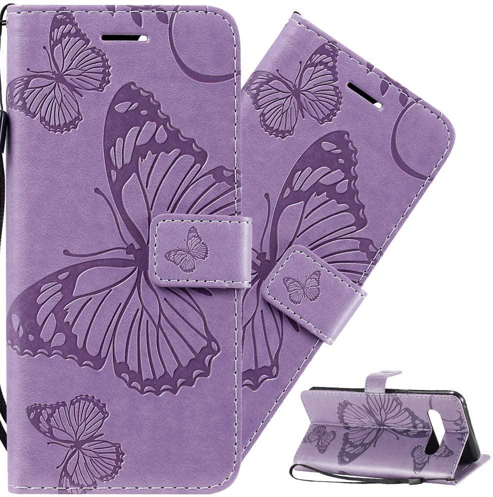 LEMAXELERS LG V60 Case PU Leather Case Wallet Flip Butterfly Flower Embossed Case with Card Holder Shockproof Protective Cover for LG V60 Big Butterfly Light Purple KT
