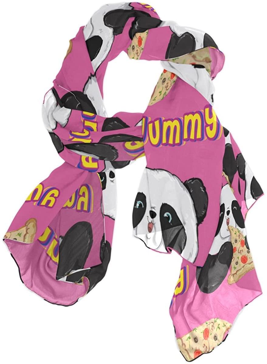 Use4 Lightweight Cute Panda Pizza Chiffon Silk Long Scarf Shawl Wrap