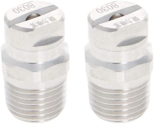 MroMax 1/4BSPT 3.6mm Orifice Spray Dia 304 Stainless Steel Flat Fan Spray Tip 1/4-8030 Silver Tone 2Pcs