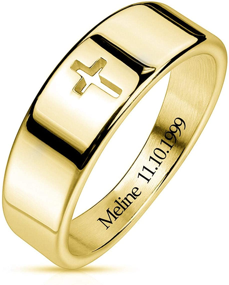 Suxerlry Sterling Silver 925 Personalized Cut Out Cross Ring Custom Engraved with Any Name