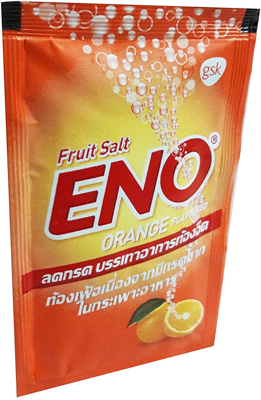 ENO, 20 Packs of ENO Sparkling Antacid Relief (Orange Flavoured, Fruit Salt) for Indigestion, Flatulence. (4.3 G/Pack).