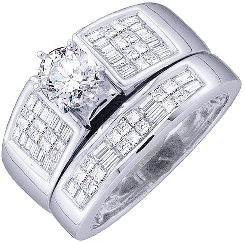 Dazzlingrock Collection 1.40 Carat (ctw) 14K Round, Princess & Baguette Diamond Bridal Engagement Ring Band Set, White Gold