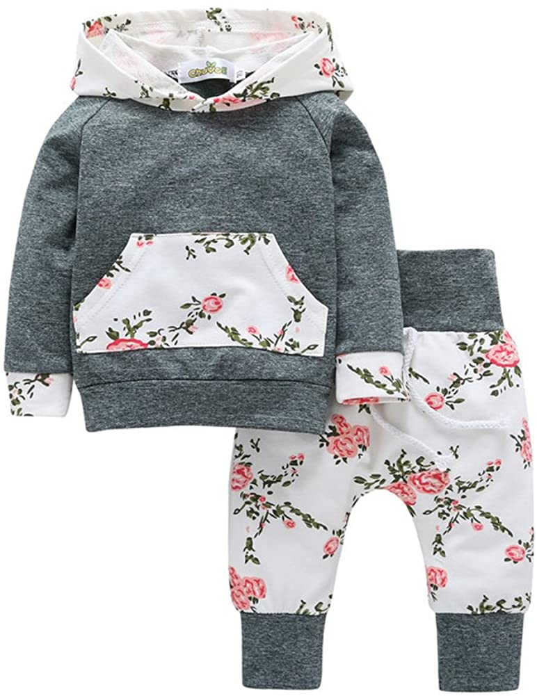 Askwind Baby Girls Floral Hoodie+ Floral Pant Set Leggings 2 Piece Outfits