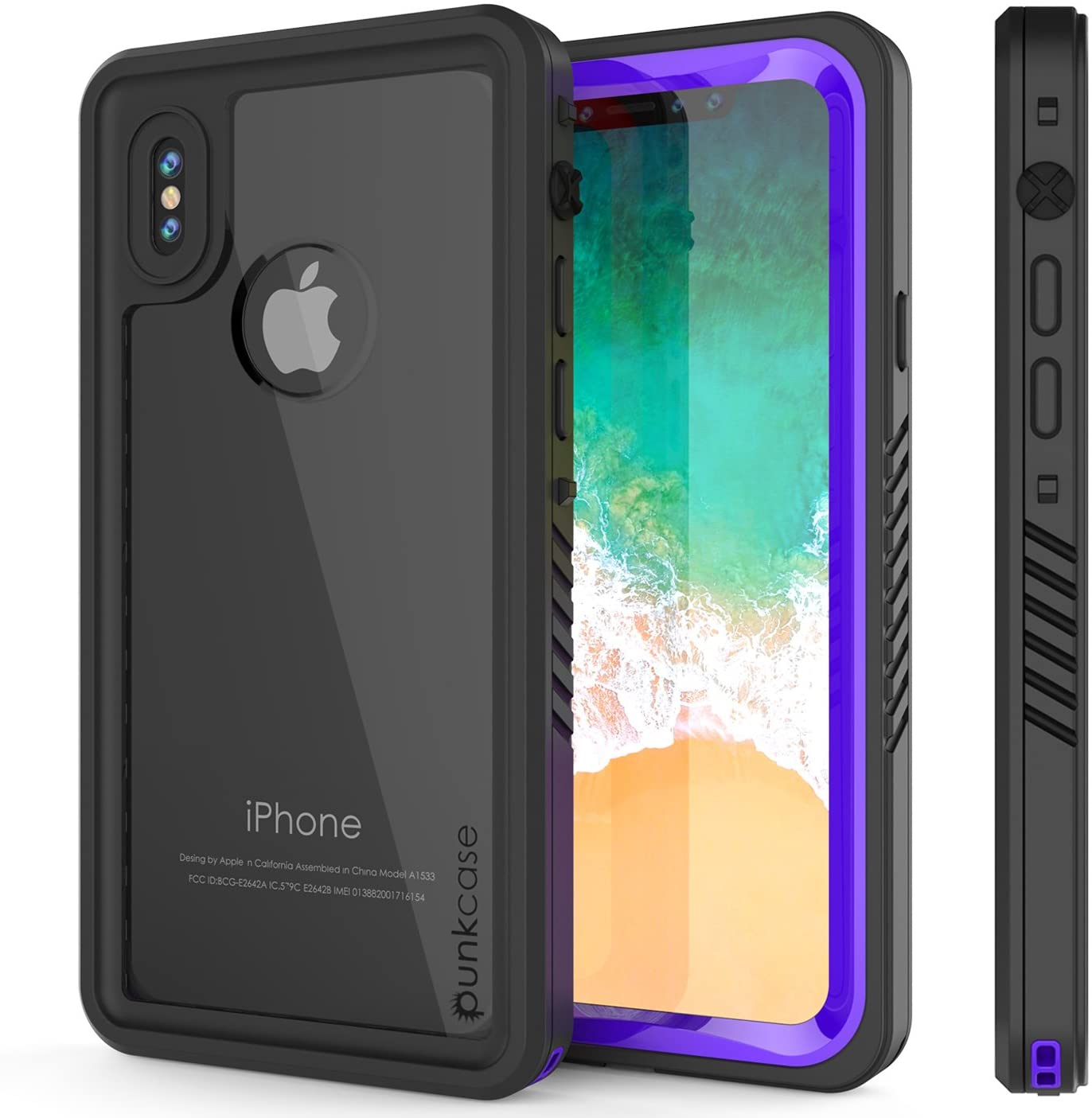 iPhone X Waterproof Case, Punkcase [Extreme Series] [Slim Fit] [IP68 Certified] [Shockproof] [Snowproof] [Dirproof] Armor Cover W/Built in Screen Protector for Apple iPhone 10 [Purple]