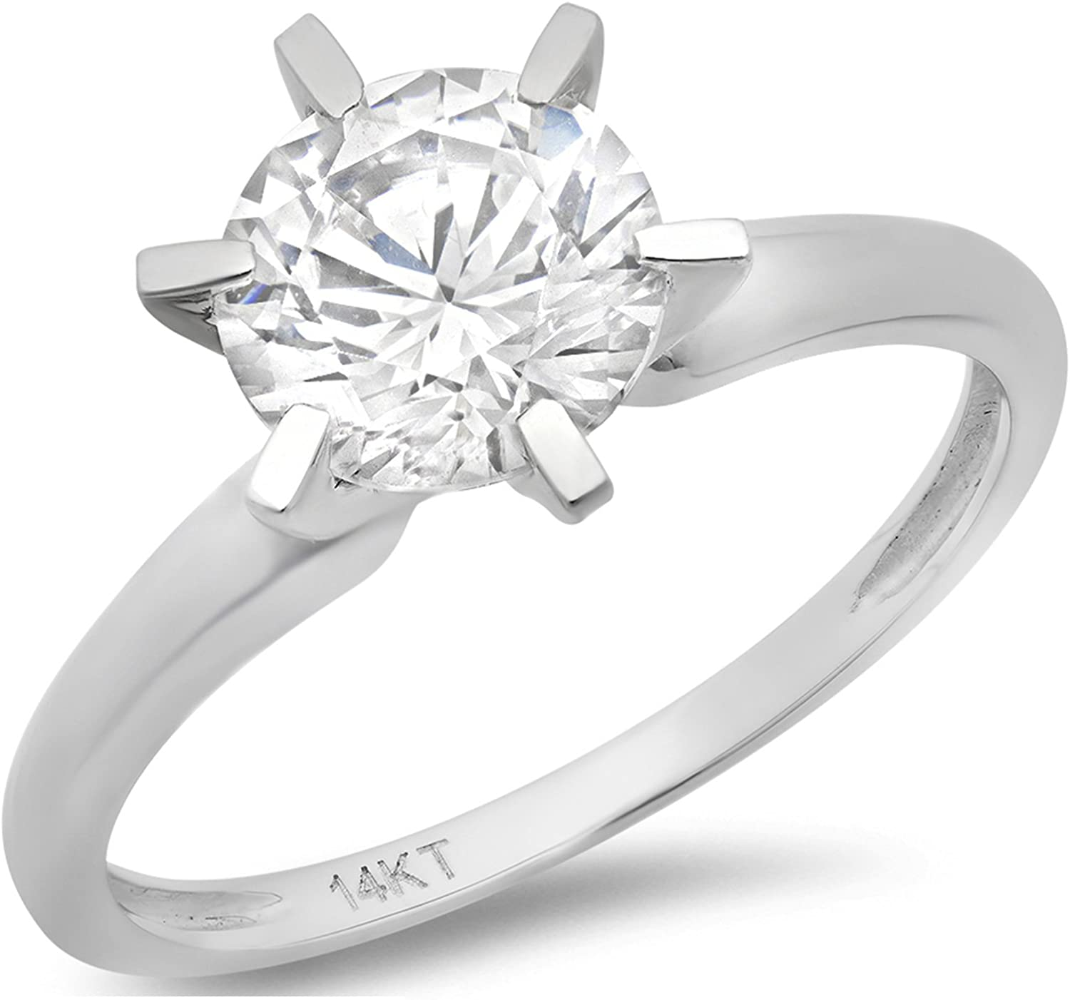 Clara Pucci 3.2 Ct Brilliant Round Cut Solitaire Engagement Promise Wedding Bridal Anniversary Ring Solid 14K White Gold