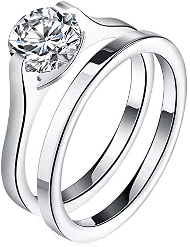 Ginger Lyne Collection Stainless Steel Bridal Engagement Ring Band Wedding Set