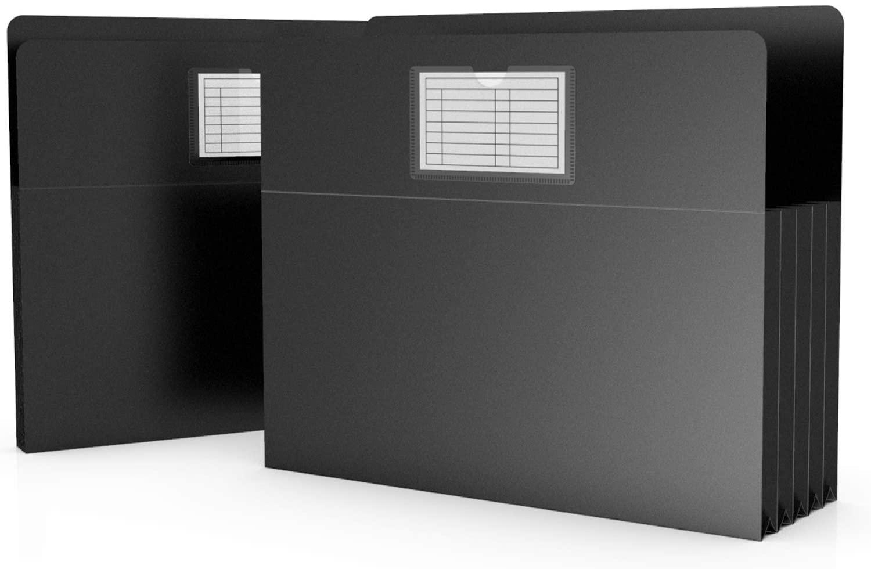 ActFaith File Folders Pocket Expanding File Jackets Organizer with Business Card Pocket Filing Case Letter Size File Wallet -Black(12pcs)