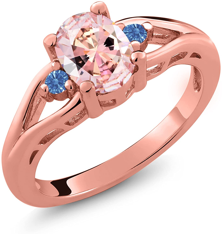18K Rose Gold Plated Silver Ring set w/Morganite Peach Zirconia from Swarovski