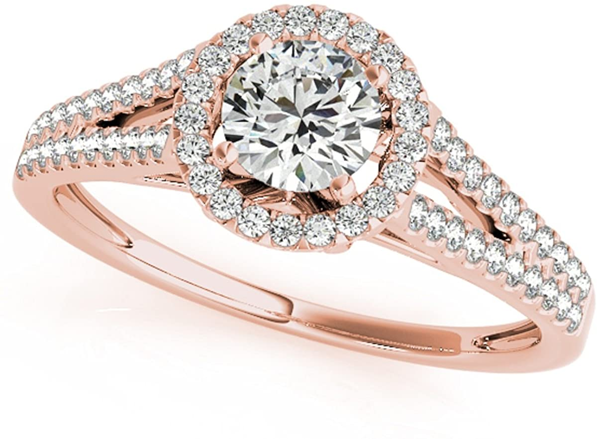 MauliJewels 0.75 Carat Halo Round Cut Antique Diamond Bridal Ring and Band Set for Women   14K Solid White Rose Yellow Gold   Genuine Diamond Wedding/Engagement Jewelry Collection