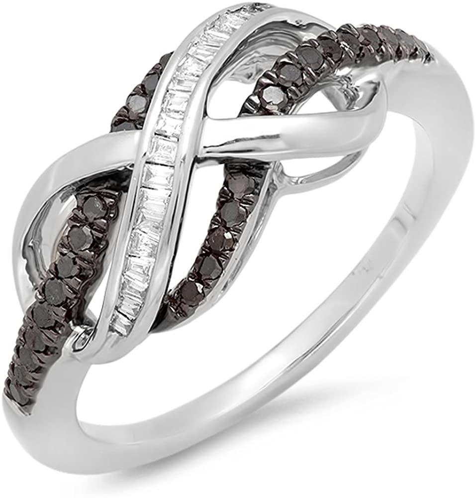 Dazzlingrock Collection 0.25 Carat (ctw) Black & White Diamond Ladies Swirl Infinity Wedding Ring 1/4 CT, Sterling Silver