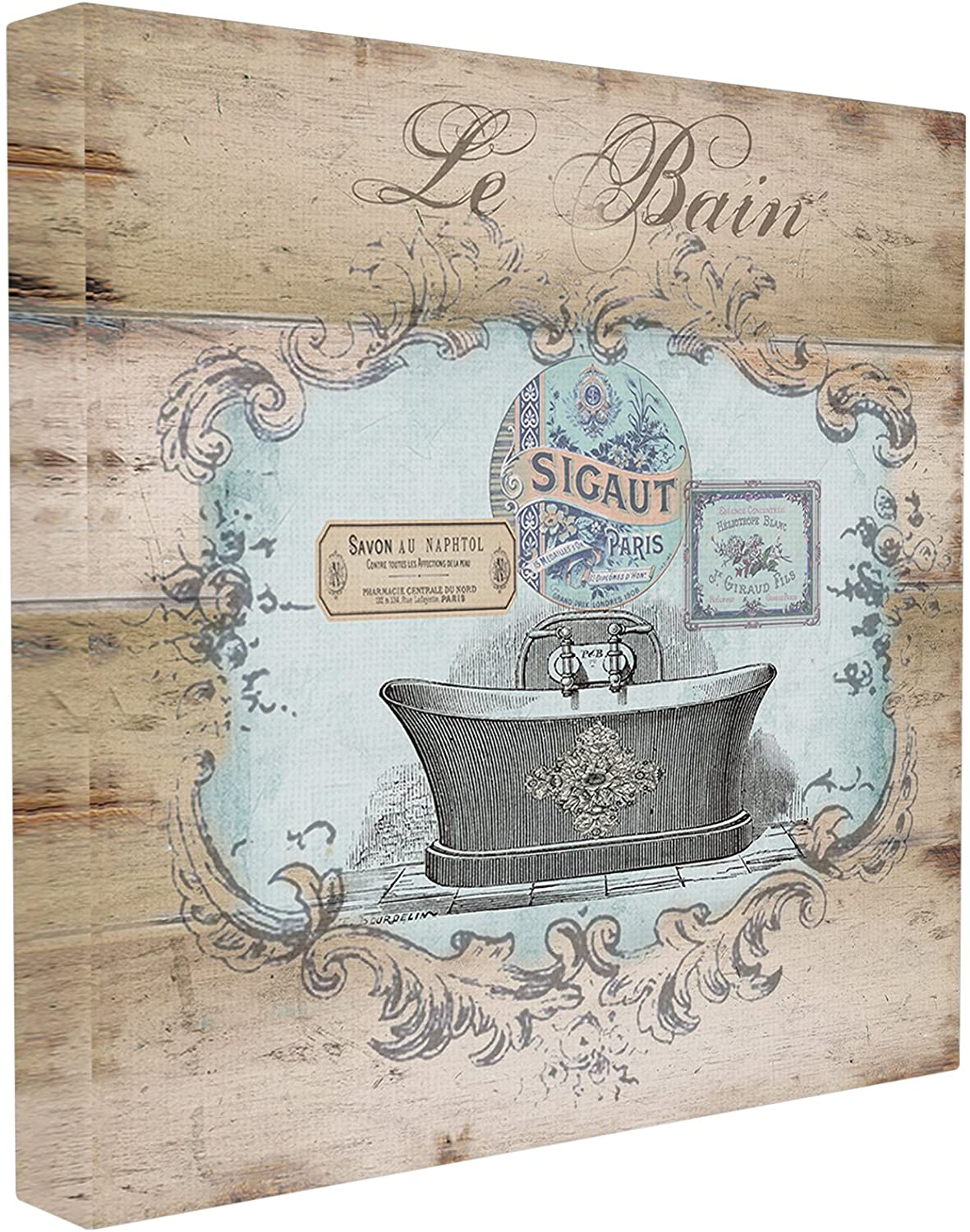 Stupell Home Décor Le Bain Wood Look Bath Stretched Canvas Wall Art, 17 x 1.5 x 17, Proudly Made in USA
