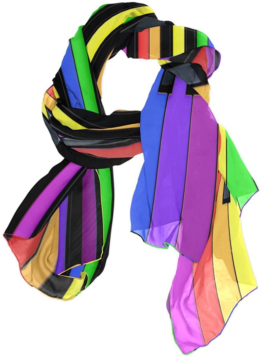 Use4 Colorful Piano Music Joy Chiffon Silk Long Scarf Shawl Wrap