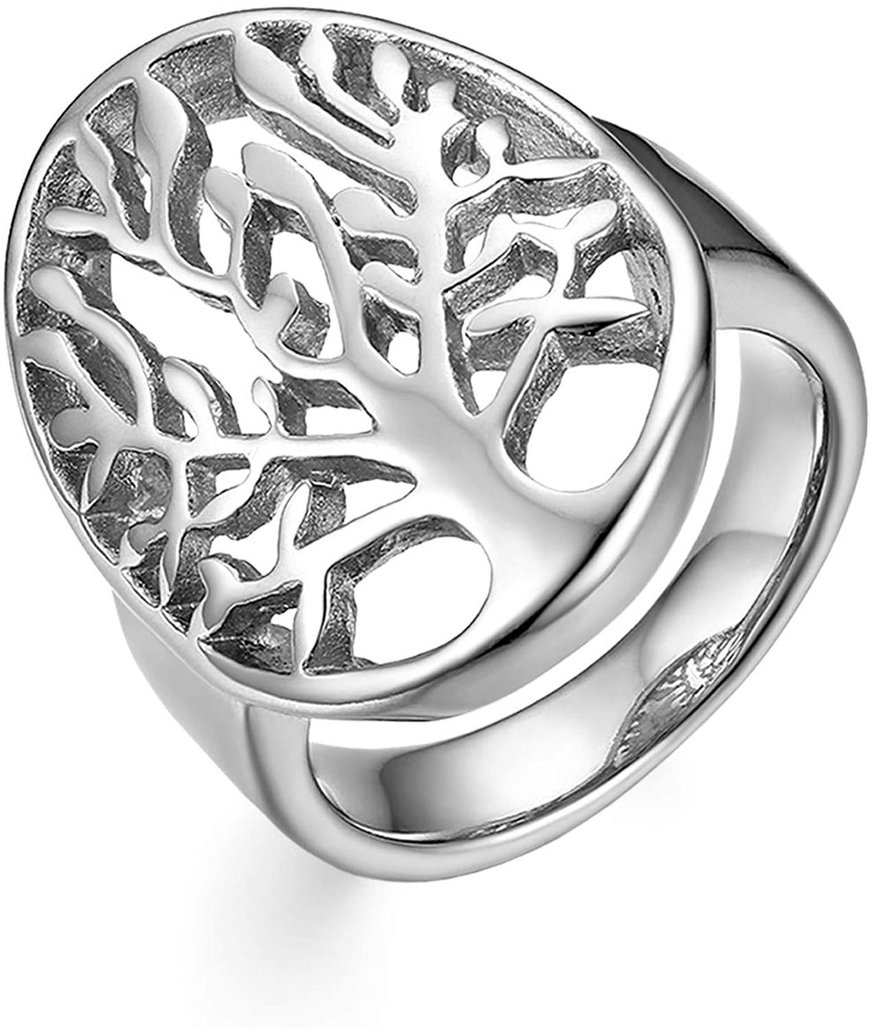 OIDEA Stainless Steel Hollow Tree of Life Wedding Rings for Women,Size 5