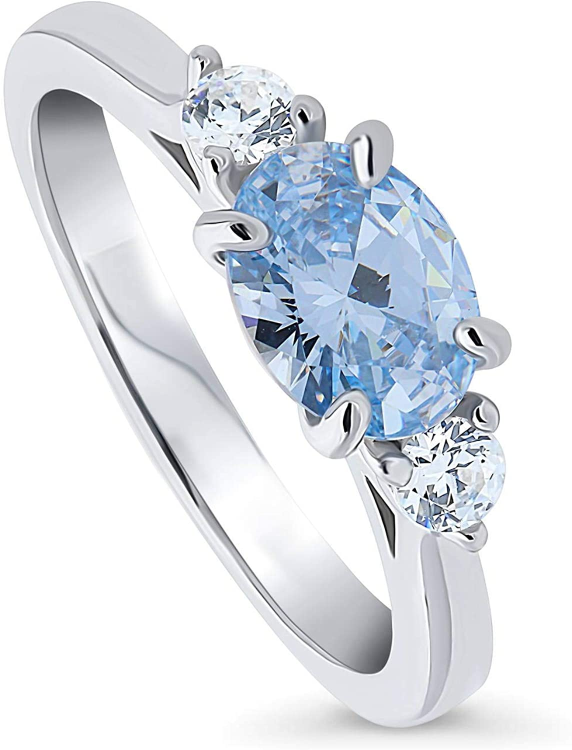 BERRICLE Rhodium Plated Sterling Silver 3-Stone East-West Promise Ring Made with Swarovski Zirconia Blue Oval Cut