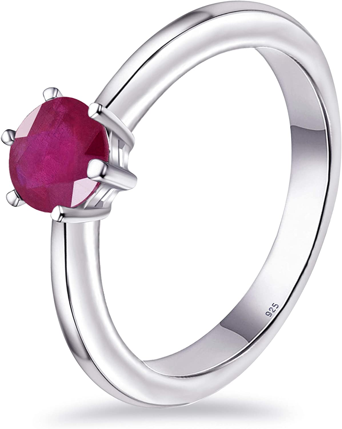 0.72 Ct Round Red Ruby, Sapphire Solitaire 925 Sterling Silver Ring For Women By Orchid Jewelry : A Perfect Birthstone For July
