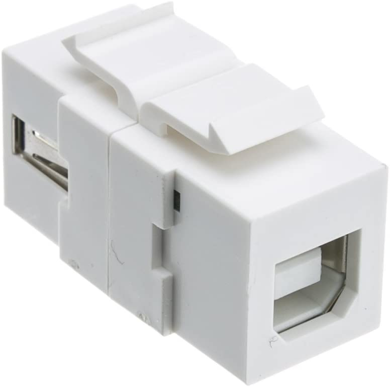 ACL USB 2.0 Type A Female To Type B Female Adapter (Reversible) Keystone Insert, White, 3 Pack
