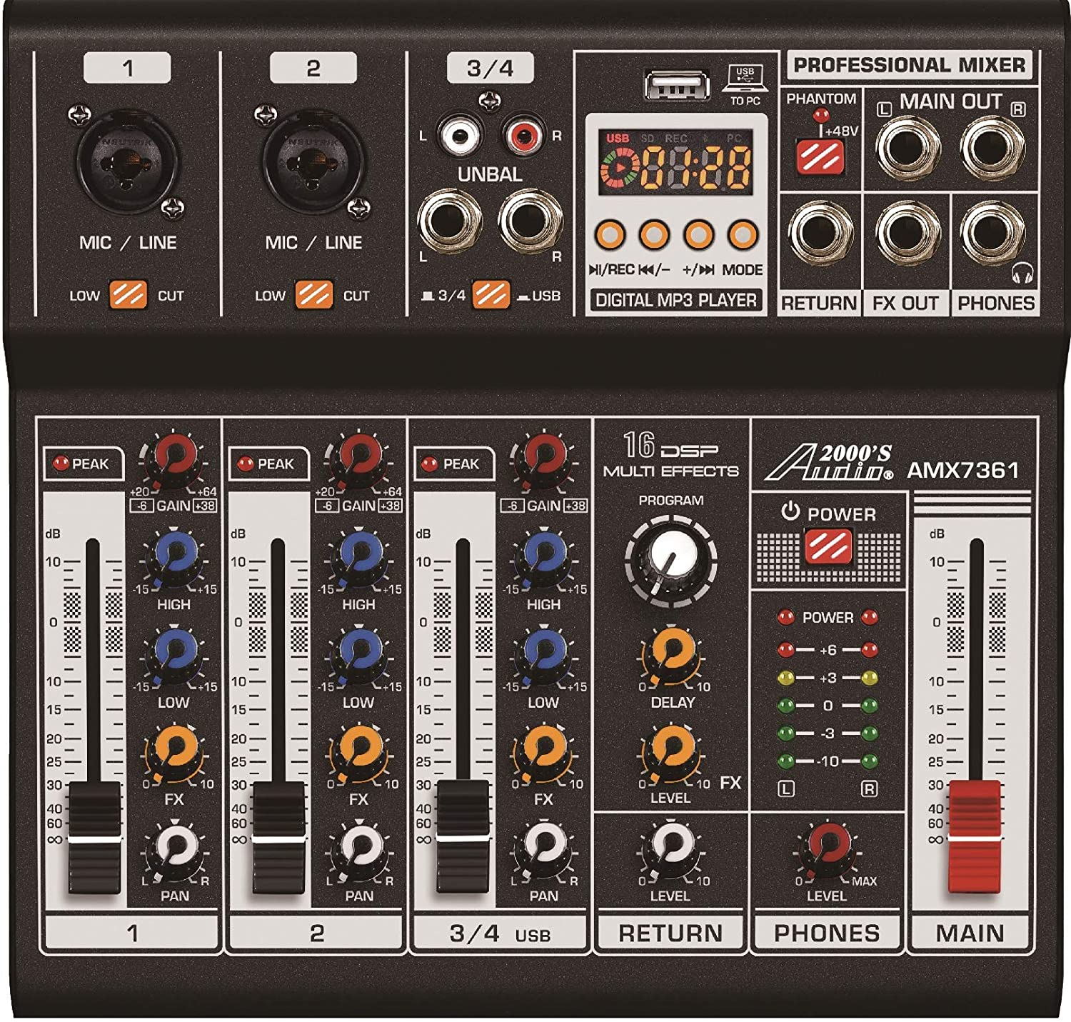 Audio2000'S AMX7361 Four-Channel Audio Mixer with USB 5V Power Supply, USB Interface, and Sound Effect