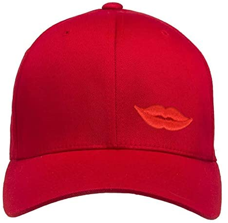 Red Novelty Baseball hat Men Women Red Lips Embroidery Dad Hat with Design Adjustable Brass Buckle Closure