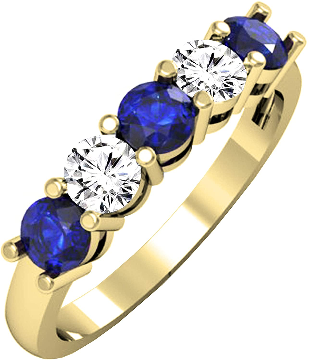 Dazzlingrock Collection Round Blue Sapphire and White Diamond Ladies Alternate 5 Stone Anniversary Wedding Band, Available in 10K/14K/18K Gold