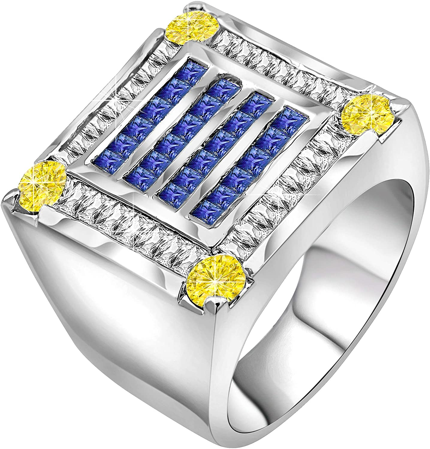 Men's Fancy Sterling Silver Ring Jewelry Set with Canary Yellow & Azure Blue Cubic Zirconia or CZ 56 Stones Elegant Design of .925 Different Size for Your Finger