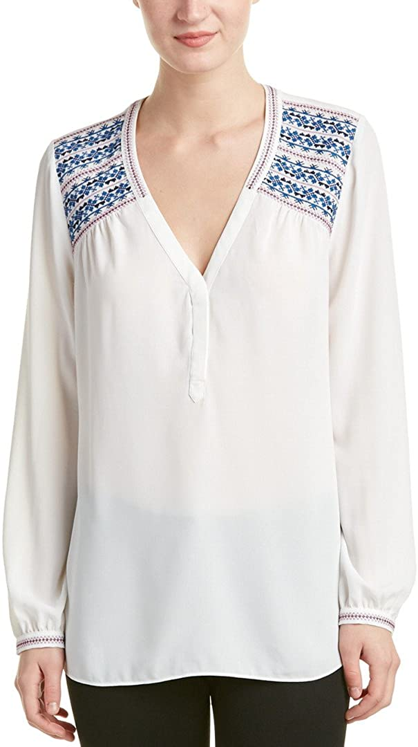 NYDJ Women's Long Sleeve Blouse with Shoulder Embroidery