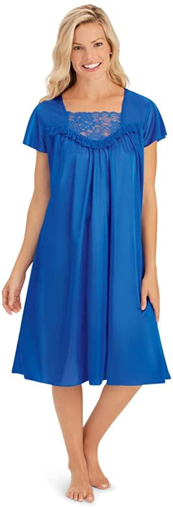 Lace Inset Tricot Nightgown - Elegant Sleepwear