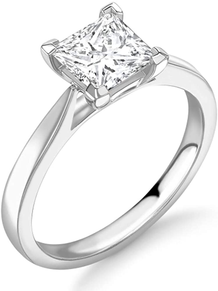 Blocaci 1 Carat Solitaire Engagement Rings for Women Princess-Cut Moissanite 10K 14K 18K Gold 925 Sterling Silver Wedding Anniversary Rings