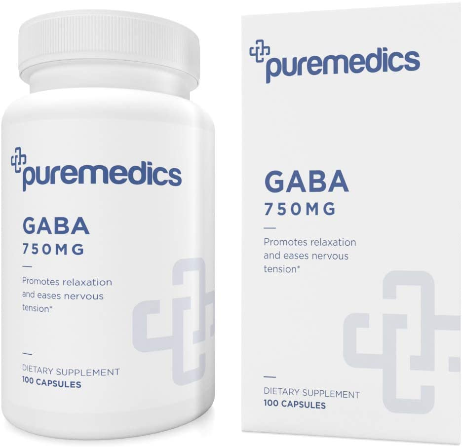 PUREMEDICS GABA 750mg - GABA Supplement to Promote Relaxation and Ease Nervous Tension - Recommended by Doctors - 3rd Party Lab Certified - Hypoallergenic - Gluten-Free - Vegan - 100 Capsules