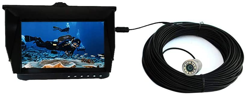 LINOVISION 304 Stainless Steel HD 1080P Underwater Inspection Camera System with 12 Pcs White LED Working in 100m Lake water or Ocean Water, Come with 7 inch LCD Monitor and 20m Cable (Cam422-304L-D7)