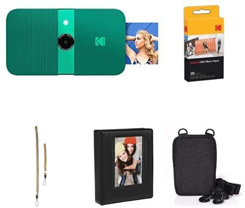 KODAK Smile Instant Print Digital Camera (Green) with Extra Paper, Album, Case, Colorful Neck/Hand Strap