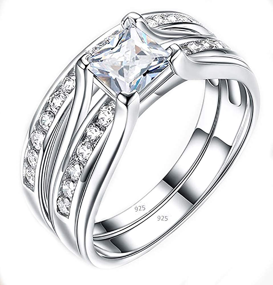 VPKJewelry Ring 2.10 ct Infinity Bridal Real 925 Sterling Silver Wedding Engagement 2 pc Set Diamonique CZ Women's