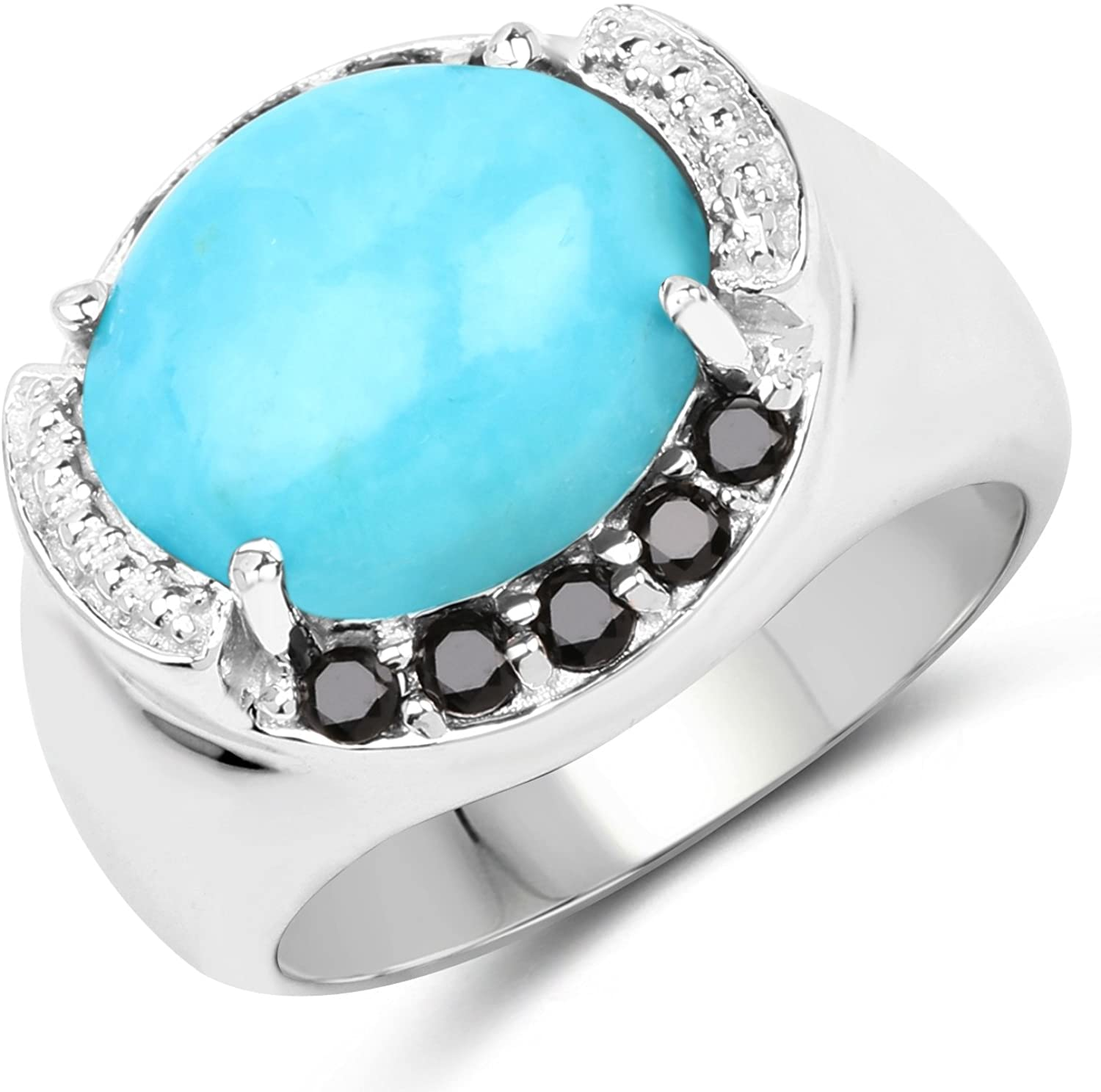 4.58 Carat Genuine Turquoise and Black Spinel .925 Sterling Silver Ring