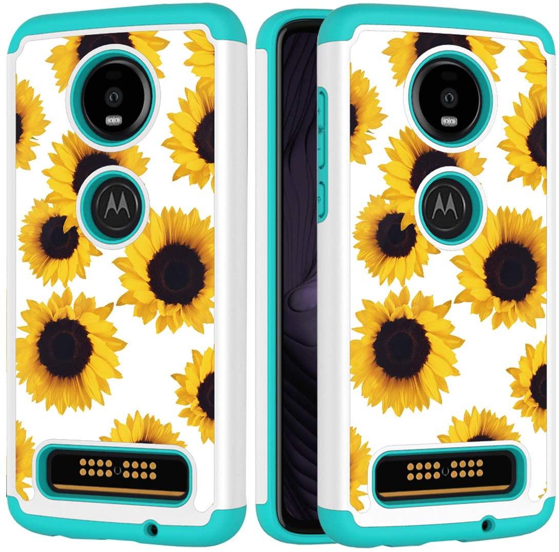 Yerebel Moto Z4 Case, Motorola Z4 Cute Case for Girls, Shockproof Defender Heavy Duty Phone Cover Cases for Motorola Moto Z4 (2019 Release) (Sunflower)